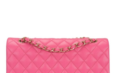 Chanel Pink Medium Quilted Classic Double Flap of Caviar Leather with Light Gold Tone Hardware