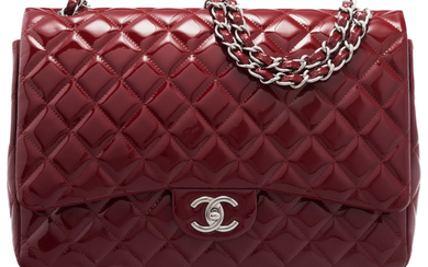 Chanel Red Quilted Patent Leather Maxi Double Flap Bag...