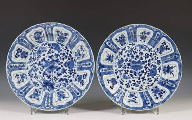 China, pair of blue-white porcelain plates, Kangxi, decorated...