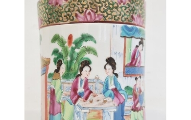 Chinese Canton porcelain tea caddy and cover, cylindrical an...