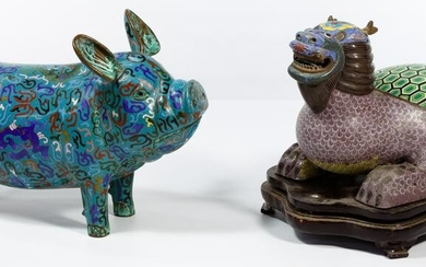 Chinese Cloisonne Pig and Dragon Turtle