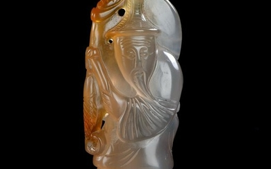 Chinese Red Agate Carving - old man