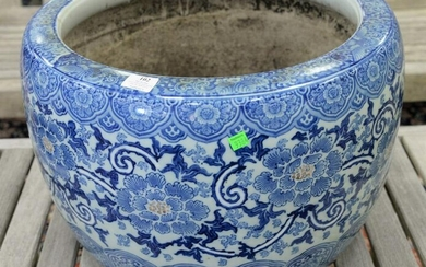 Chinese blue and white porcelain planter, ht. 13 1/2""