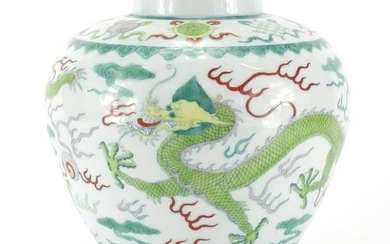 Chinese porcelain Wucai vase, hand painted with two