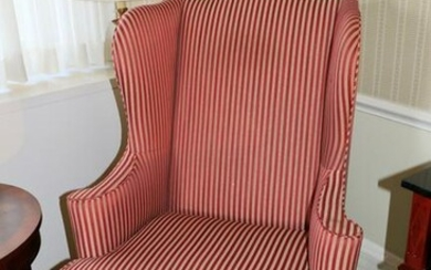 Chippendale style ball and claw wing chair with red