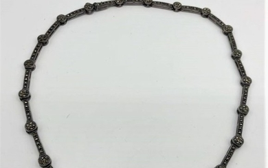 Circa 1920 Sterling Silver and Marcasites Necklace