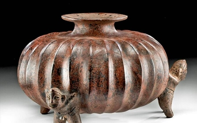 Colima Pottery Tripod Gourd Vessel - Shaman Carriers
