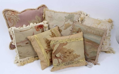 Collection of seven Aubusson tapestry cushions