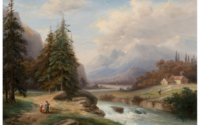 Continental School (19th Century), The Road along the Stream