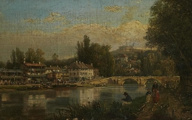 Continental School Painting of a River Town Oil o