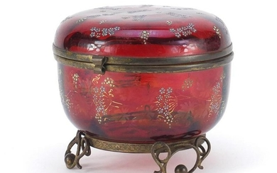 Continental ruby glass bomboniere with metal mounts,
