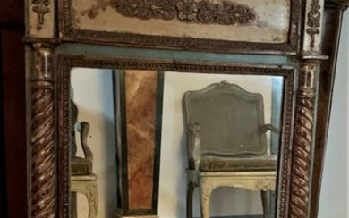 Cream, green and gold lacquered wood frame mirror...