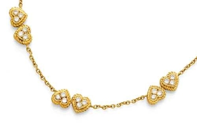 DIAMOND AND GOLD NECKLACE, BY FRED PARIS, ca. 1980.