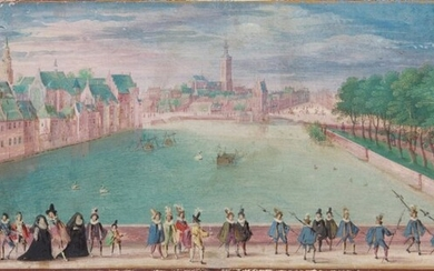 Dutch School, Late 16th Century, View of The Hague with Elegant Figures Promenading