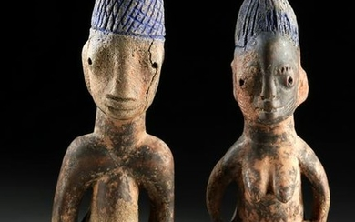 Early 20th C. African Ibeji Standing Twin Figures (pr)