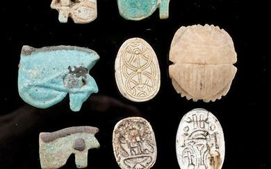 Egyptian Faience Wedjat Eye Amulets + Scarabs (11 pcs)