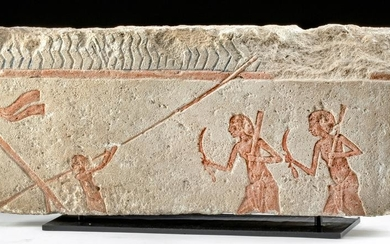 Egyptian Amarna Limestone Relief Panel, 3 Men on Boat