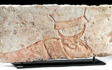 Egyptian Amarna Limestone Relief Panel - Bull / Binding