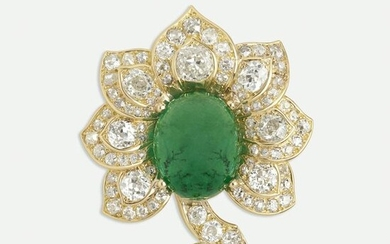 Emerald and diamond flower brooch