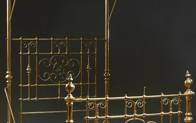 English Brass Half Tester Double Bed, early 20th c.