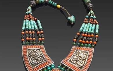 Ethnic necklace with Mediterranean coral (Corallium Rubrum) inserts and colored...