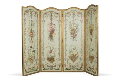 Exquisite painting 4 saisons on 4 panels screen