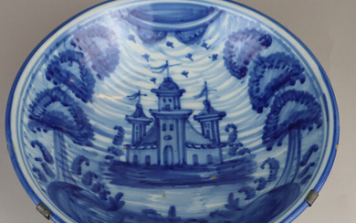 FAYENCE BOWL - 18. Century, with a view of a church in underglaze blue.