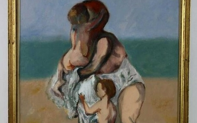 FINE PORTRAIT STUDY MOTHER WITH CHILDREN ON BEACH