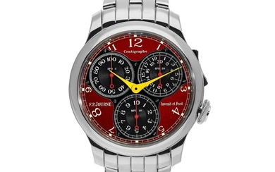 F.P. JOURNE | CENTIGRAPHE SOUVERAIN FERRARI, A LIMITED EDITION CHRONOGRAPH WRISTWATCH WITH 100TH OF A SECOND, 20 SECOND AND 10 MINUTE REGISTERS, ERGONOMIC BUTTONS AND BRACELET CIRCA 2015