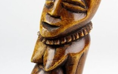 Female figure of ivory, probably Lega, D. R. Congo, 1st h. 20th century, carved from one piece and glazed with brown natural colour, h 20 cm, d 7 cm, weight 800 g, CITES regulations and import - export restrictions might apply! 2483-023