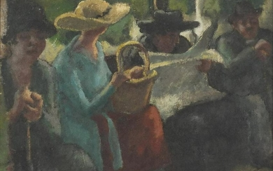 Figures on a bench, early 20th century French school