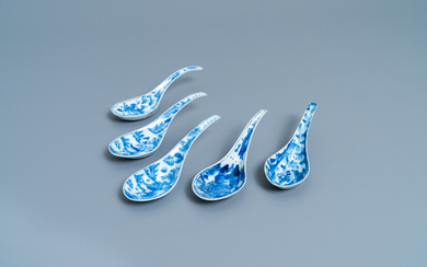 Five Chinese blue and white 'landscape' spoons, 19th C.