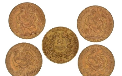 Five gold coins of 20 FF