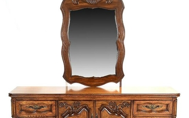 French Provincial Style Oak Mirrored Sideboard.