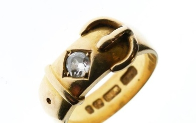 Gentleman's late Victorian 18ct gold and diamond-set ring of...