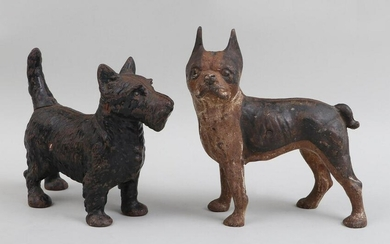 Group of (2) cast iron dog door stop