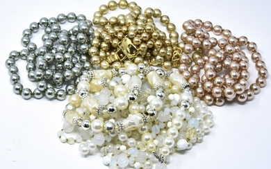Group of Vintage Faux Pearl Necklace Strands