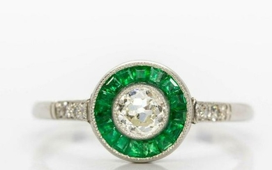 Handmade Platinum Diamonds and Emerald Halo Ring