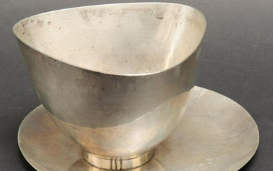 Herman Roth Modern Silver Bowl with Underplate