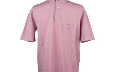 Hermes Men's Embroidered Polo Shirt Rose Clair Cotton