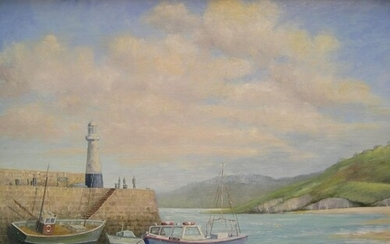 """J A Pusey 1980s oil on board, """"Harbour, St Ives, Cornwall"""" m..."""
