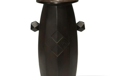 Japanese Bronze Art Deco Geometric Vase, Taisho