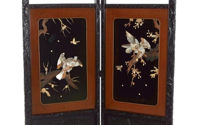 Japanese carved wood and inlaid two-panel screen