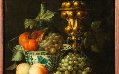 Johannes Hannot (attributed), painting, fruit still life with columbine goblet, 17th century