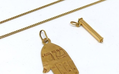 LOT in yellow gold, pendant and broken chain. Weight 6,6 g