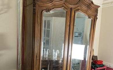 """LOUIS XV STYLE CARVED WOOD ARMOIRE 98"""" WARDROBE"""