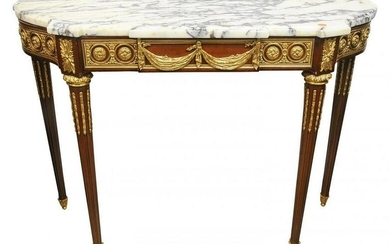 LOUIS XVI STYLE DORE BRONZE-MOUNTED CONSOLE MARBLE TOP