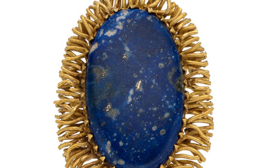 Lapis Lazuli, Gold Brooch The pendant-brooch features an oval-shaped...