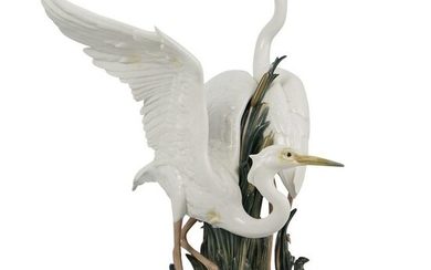 "Large Lladro ""Courting Cranes"" Porcelain"
