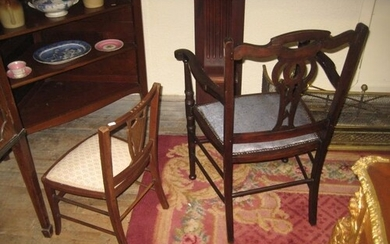 Late Victorian Mahogany Carver Armchair together with an Inl...